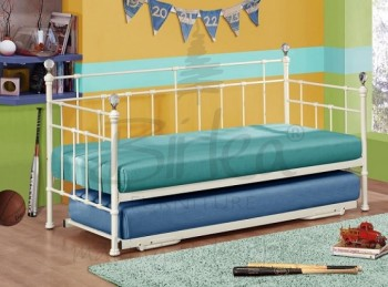 Birlea Jessica 3ft Single Cream Metal Day Bed Frame with Trundle