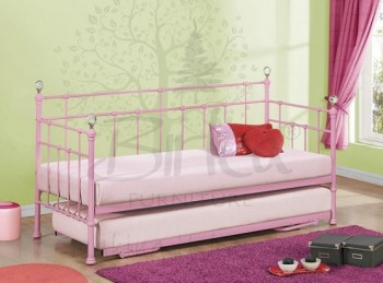 Birlea Jessica 3ft Single Pink Metal Day Bed Frame with Trundle
