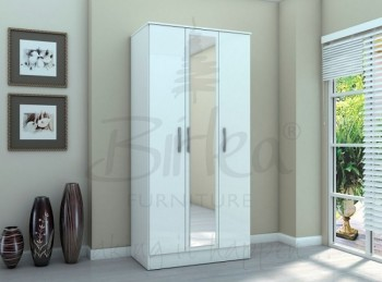 Birlea Lynx White with White Gloss 3 Door Wardrobe with Centre Mirror