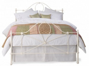 OBC Marseille 3ft Single Glossy Ivory Metal Bed Frame