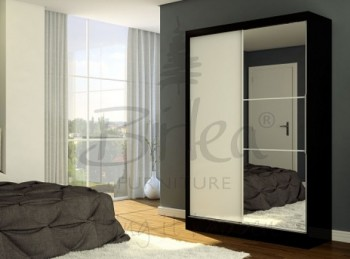 Birlea Lynx Black with White Gloss Sliding Door Wardrobe with Mirror