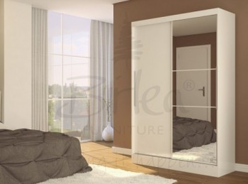 Birlea Lynx White with White Gloss Sliding Door Wardrobe with Mirror