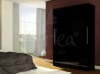 Birlea Lynx Black with Black Gloss Sliding Door Wardrobe