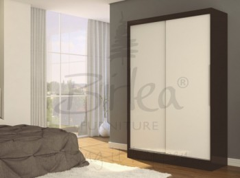 Birlea Lynx Black with White Gloss Sliding Door Wardrobe