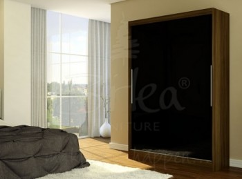 Birlea Lynx Walnut with Black Gloss Sliding Door Wardrobe