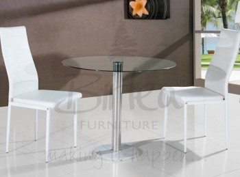 Birlea Romford Glass Dining Table Set with Two Chairs - White