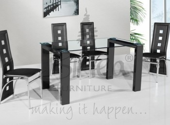 Birlea Finchley Glass Dining Table Set with Four Chairs - Black
