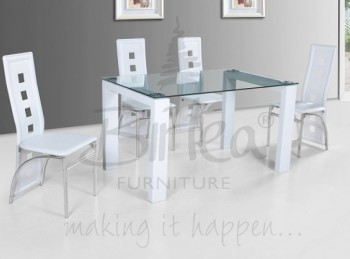 Birlea Finchley Glass Dining Table Set with Four Chairs - White