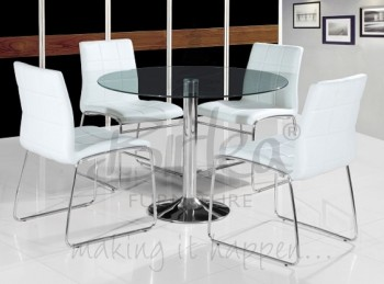 Birlea Stratford Glass Dining Table Set with Four Chairs - White