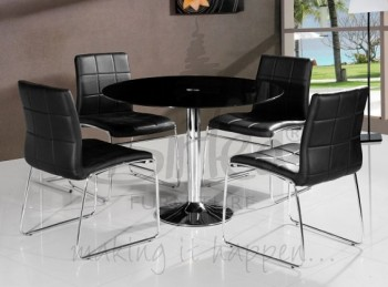 Birlea Stratford Glass Dining Table Set with Four Chairs - Black