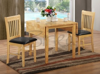 Birlea Oxford Oak Finished Drop Leaf Dining Table Set with Two Chairs