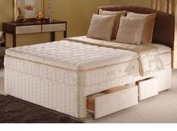Sealy Autumn Mist Posturepedic Gold 4ft Small Double Divan Bed
