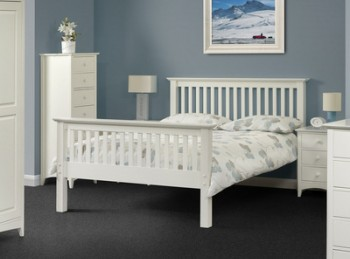 Julian Bowen Barcelona High Foot End Stone White 4ft6 Double Wooden Bed