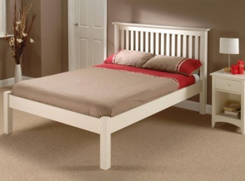 Julian Bowen Barcelona Low Foot End Stone White 4ft6 Double Wooden Bed