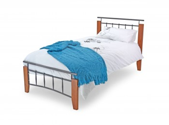 Metal Beds Kentucky 3ft (90cm) Single Silver and Beech Bed Frame