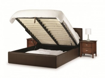 Julian Bowen Vienna 3ft Single Brown Faux Leather Ottoman Bed Frame