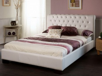 Limelight Aries 4ft6 Double White Faux Leather Bed Frame