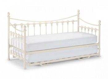 Julian Bowen Versailles 3ft Single Stone White Metal Day Bed With Under Bed