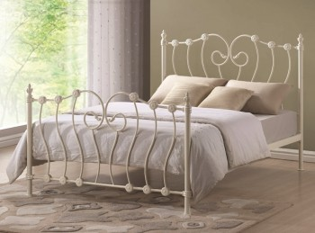 Time Living Inova 4ft Small Double Ivory Metal Bed Frame
