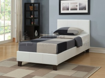 Birlea Berlin 3ft Single White Faux Leather Bed Frame