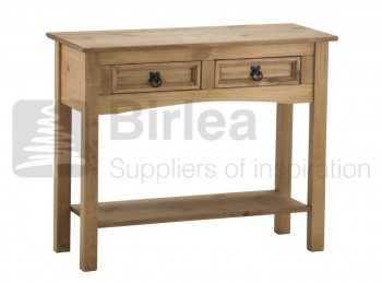 Birlea Corona Pine 2 Drawer Console Table With Shelf
