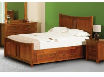 Sweet Dreams Curlew 4ft6 Double Bed Frame With Under Bed Drawers In Wild Cherry