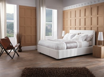 Serene Lucca 6ft Super Kingsize White Faux Leather Bed Frame