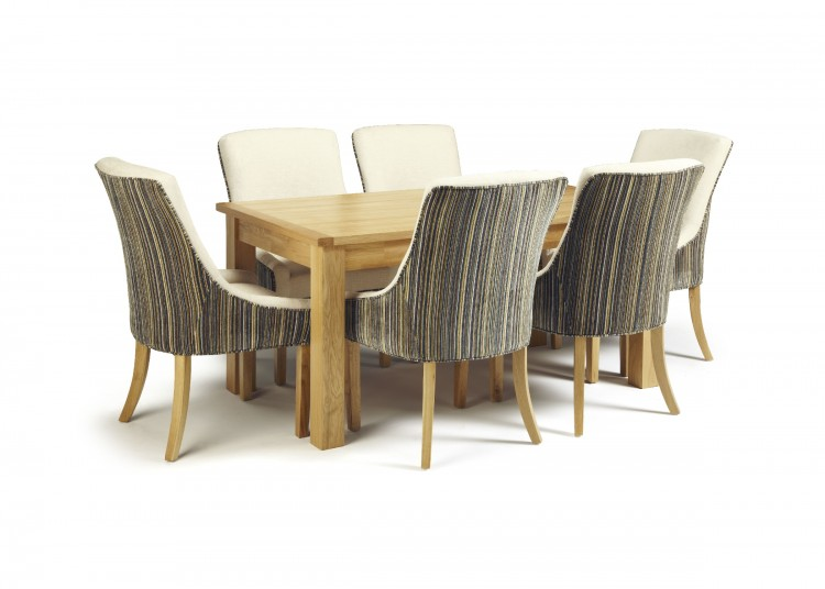 Serene Bromley Oak Fixed Top Dining Table Set With 6