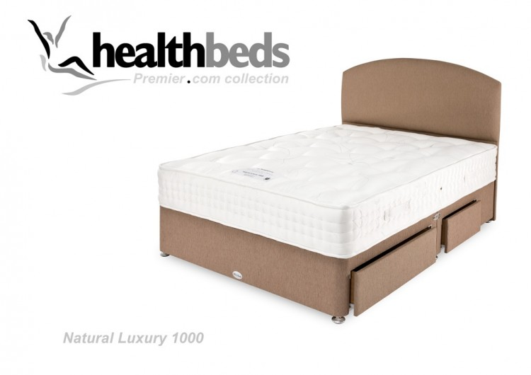 Healthbeds natural luxury 1000 pocket 2ft6 small single for Best single divan beds