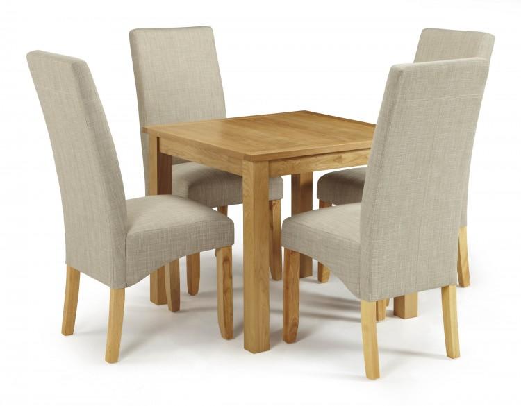 Serene Lambeth Oak Dining Set With 4 Merton Linen Fabric Chairs By Serene Fur