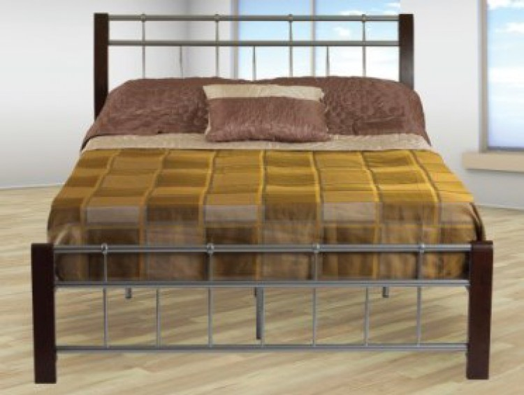 dc91323ff6d7 Sweet Dreams Sandpiper 4ft Small Double Dark Legs Silver Metal Bed Frame