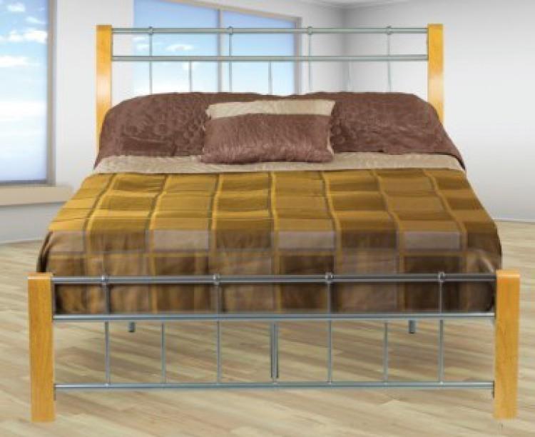 3519688eaa75 Sweet Dreams Sandpiper 4ft 6 Double Oak Legs Silver Metal Bed Frame