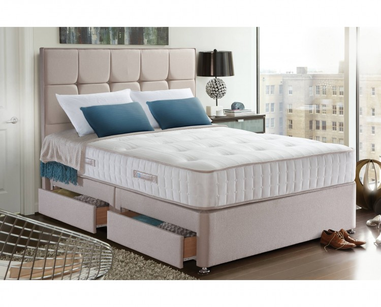 Sealy palermo 1400 pocket 4ft6 double divan bed by sealy for Double divan bed with firm mattress