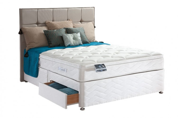 Sealy pearl geltex 4ft6 double divan bed by sealy for New double divan bed
