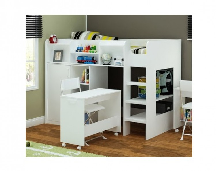 bedroom with desk flair furnishings wizard junior white high sleeper 10770