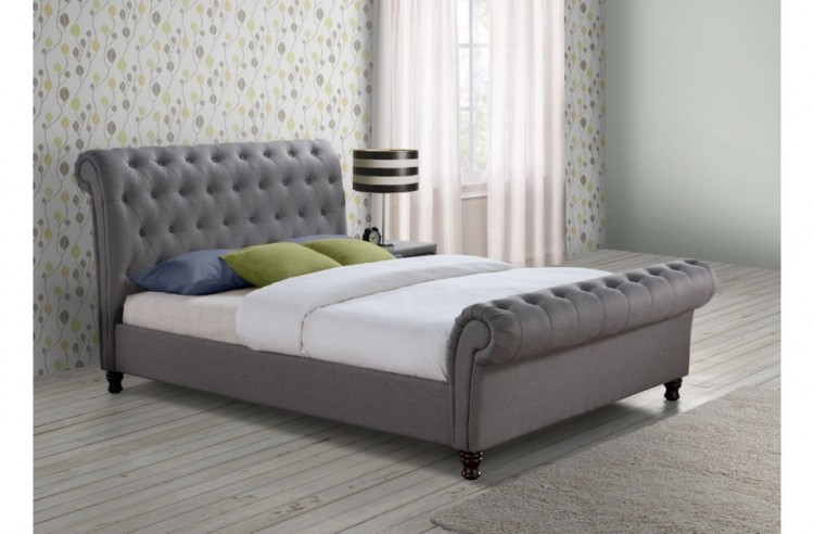 Birlea Castello 4ft6 Double Grey Fabric Bed Frame By Birlea