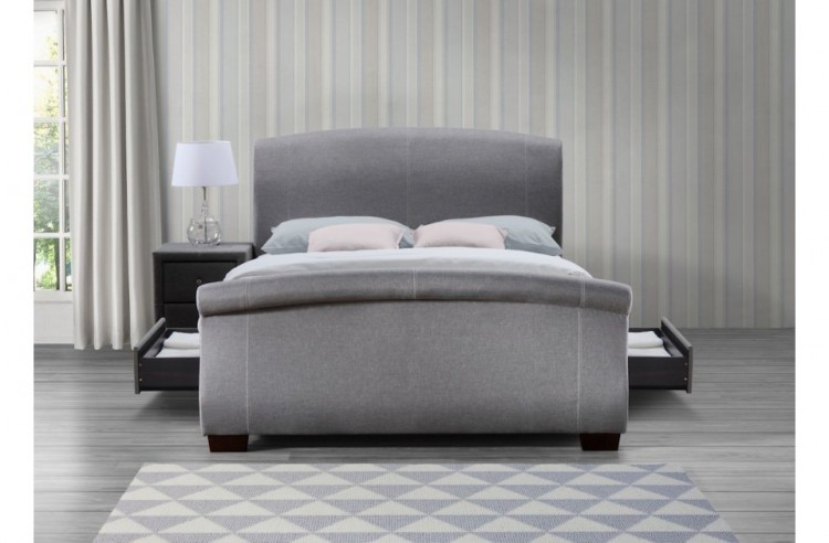 Birlea Barcelona 4ft6 Double Grey Fabric Bed Frame With 2