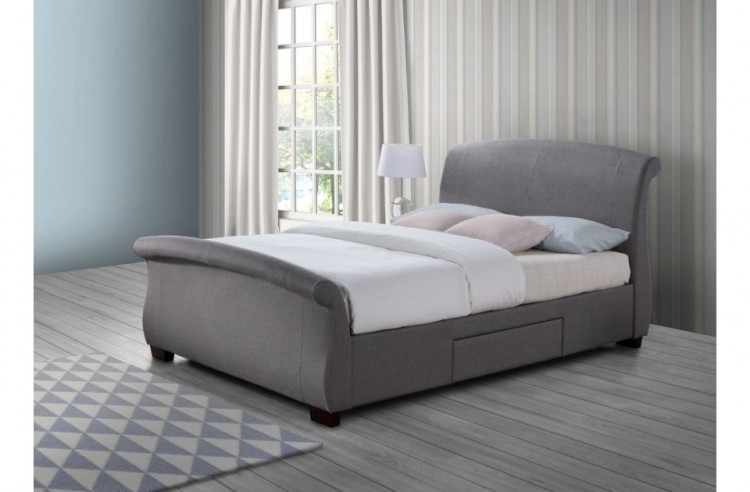 Birlea Barcelona 5ft Kingsize Grey Fabric Bed Frame With 2 Drawers By