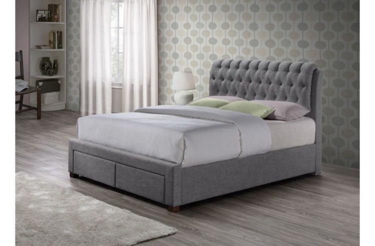 Birlea Valentino 5ft Kingsize Grey Fabric Bed Frame With 2