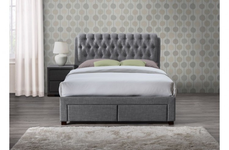 Birlea Valentino 5ft Kingsize Grey Fabric Bed Frame With 2