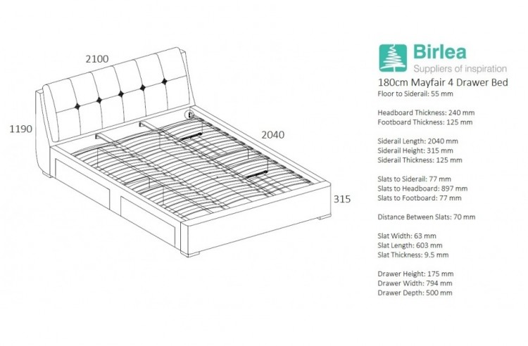 super kingsize grey fabric bed frame with 4 drawers show more information