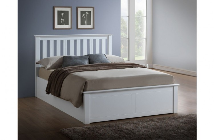 High Quality Birlea Phoenix 4ft Small Double White Ottoman Lift Wooden Bed