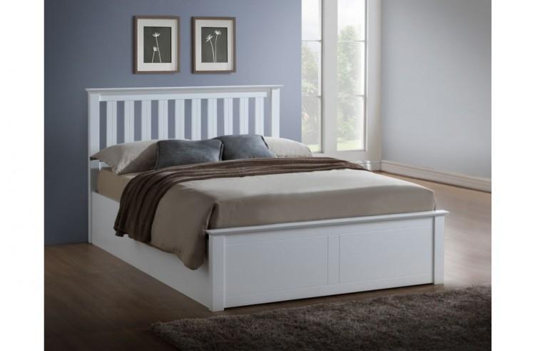 Birlea phoenix 5ft kingsize white ottoman lift wooden bed for White double divan bed