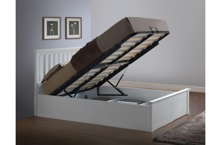 birlea phoenix 4ft6 double white ottoman lift wooden bed. Black Bedroom Furniture Sets. Home Design Ideas