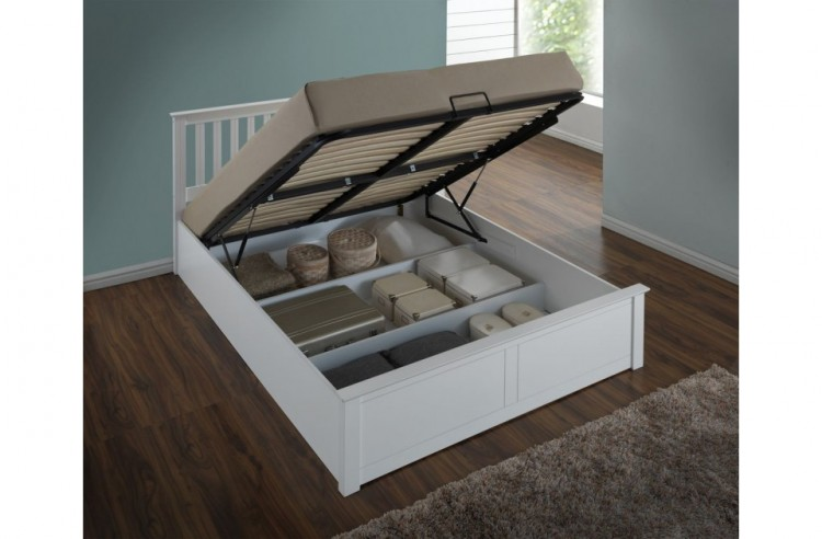 6be0350478cb Birlea Phoenix 4ft Small Double White Ottoman Lift Wooden Bed Frame by  Birlea