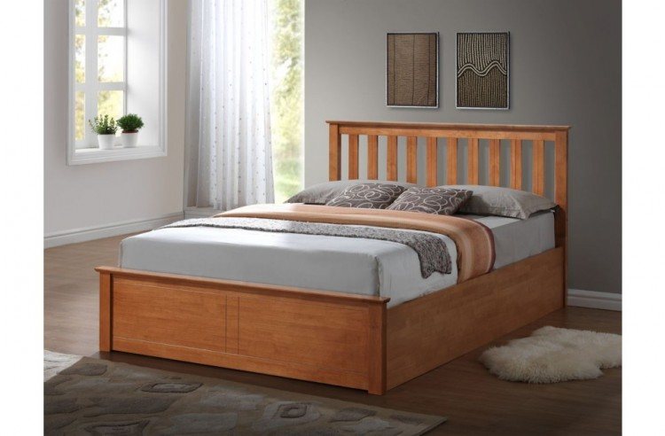 Birlea Phoenix 4ft6 Double Ottoman Lift Wooden Bed Frame In Oak By Birlea