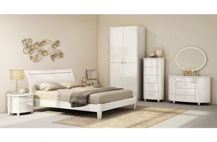 birlea aztec white 5ft kingsize high gloss bed frame - High King Size Bed Frame