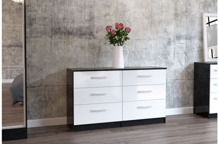 Birlea Lynx Black With White Gloss 6 Drawer Wide Chest Of Drawers By