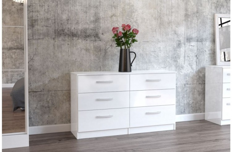 Birlea Lynx White With Gloss 6 Drawer Wide Chest Of Drawers By