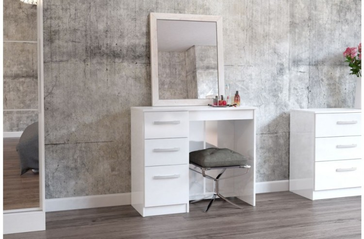 White Gloss Dressing Table And Chair: Birlea Lynx White With White Gloss 3 Drawer Single
